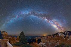 Eta Aquarid meteors above Bryce Canyon in Utah, in May 2014. (David Lane)