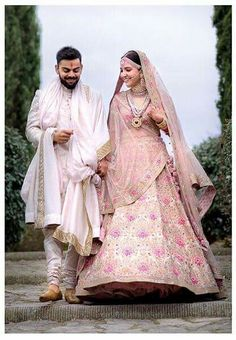 Anushka Sharma Looked Royal in Pink Floral Lehenga By Sabyasachi Anushka Sharma And Virat, Virat Kohli And Anushka, Mode Bollywood, Bollywood Fashion, Bollywood Actress, Bollywood Couples, Actress Anushka, Indian Groom Wear, Indian Wear