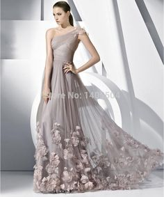 2014 New A Line Sexy One shoulder Floor length Fold pleats Tulle sheer Custom Made Handmade Flowers Zipper SimpleLong Prom Gowns