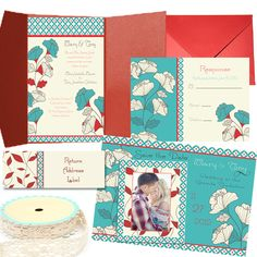 Invitations  Damask Teal, Red and brown Floral layout  Bellagala Graphics  Designs by Kristi Osborn