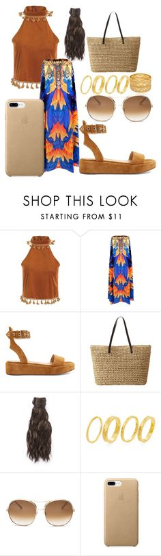 """A Walk On The Beach ! 🌊😍"" by nyahgottfans ❤ liked on Polyvore featuring beauty, Gianvito Rossi, Hairdo, Gorjana and Chloé"