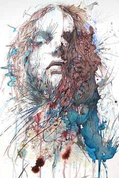Painting by Carne Griffiths. Aside from using watercolor, calligraphy ink and graphite, Carne also uses beverages like tea, brandy and vodka Illustrations, Illustration Art, Calligraphy Ink, Abstract Portrait, Portraits, Amazing Art, Amazing Drawings, Awesome, Cool Art