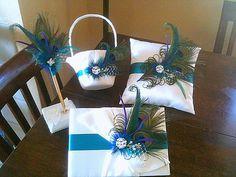 Peacock Wedding Package-Customize-Peacock Pillow-Flower Girl-Basket-Guest Book-Pen-Pen Holder. $155.00, via Etsy.