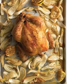 Roast chicken with lemons and fennel: Roasting is the easiest way to cook a chicken. For maximum browning, use a rimmed baking sheet instead of a high-sided roasting pan. Create a complete meal by cooking vegetables alongside the bird. Easy Roast Chicken, Roast Chicken Recipes, Healthy Chicken, Chicken Roaster, Oven Chicken, Chicken Scratch, Turkey Recipes, Chicken Wings, Rosemary Roasted Chicken