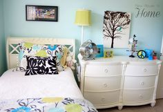 Madison's Bedroom -  Blue White Design Bedroom With Colorful Pillows And Cover With White Stylish Drawers In Classic Design: Sophisticated Tween Girls B...