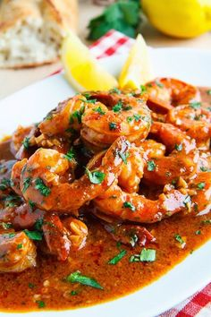 "New Orleans BBQ Shrimp: 2T butter, 3 chopped garlic cloves, your fav hot sauce to taste, 1/4c Worcestershire sauce, 1/3c beer, wine or broth, 2T lemon juice (1/2 lemon), 2t creole seasoning, 1/2t ground black pepper, 1# peeled deveined shrimp, crusty French bread. Simmer 5 min. Add shrimp - cook 2-3 min. Reduce heat to med-lo, Add 2T 1/2"" pieces chilled butter until it melts. Add salt to taste."