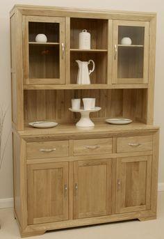 Bevel Solid Oak Range - Large Welsh Dresser - Oak Furniture Land www.oakfurnitureland.co.uk