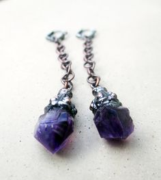 Crystal Earrings with Amethyst Rough Natural by SilviasCreations