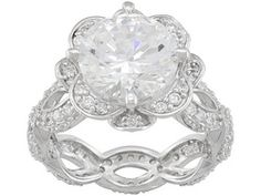 Large beautiful and FUN!! Bella Luce(R) 7.72ctw Platineve Pirouette Ring Eav $135.00