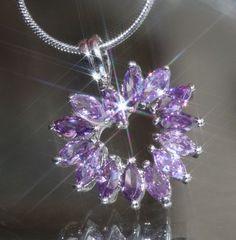 Pretty Created Marquise Amethyst Heart Shape Pendant + Chain