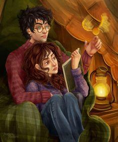 Harry Potter Couples, Harry Potter Ships, Harry James Potter, Harry Potter Fan Art, Harry Potter Fandom, Harry Potter Characters, Hermione Fan Art, Harry Potter Hermione Granger, Ginny Weasley