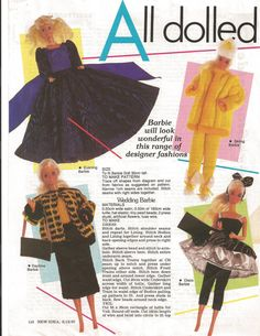 All Dolled Up Barbie Vintage Knit Sew Trousseau Patterns New Idea 1987 by PreciousIdentity on Etsy