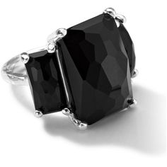 Ippolita Sterling Silver 3-Stone Large Rectangle Cocktail Ring in Onyx ($750) ❤ liked on Polyvore featuring jewelry, rings, silver, sterling silver 3 stone ring, ippolita jewelry, sterling silver jewellery, sterling silver onyx ring and 3 stone ring