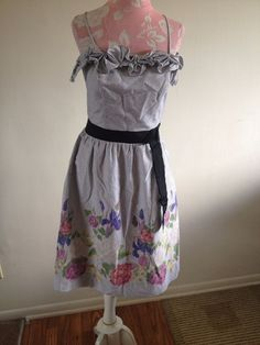 Velvet Graham & Spencer Chambray Pinstriped Spaghetti Strap Floral Sun Dress 4 #Velvet #Sundress #Casual