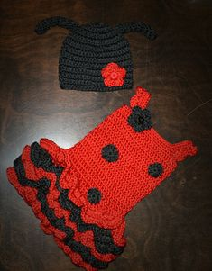 Crochet Valentine's Ladybug Tutu Dress & by CubbyCreations on Etsy Ladybug Tutu, Crochet Ladybug, Crochet Baby, Baby Girl Halloween Costumes, Baby Costumes, Yarn Crafts, Baby Hats, Beanie Hats, Black Beanie