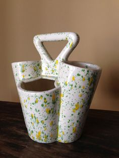 Mid Century Planter Pottery Ceramic Speckled Green by StylishPiggy, $22.00