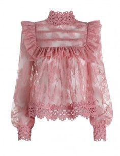 Mischief Peony Lace Blouse, from our Spring 16 collection, in Peony French lace with frilled detail bodice. Corded cotton trim at collar and cuffs. Red Lace Top, Lace Tops, Pink Lace, Blouse Styles, Blouse Designs, Ruffle Collar Blouse, Collar Top, Ruffle Shirt, Lace Collar