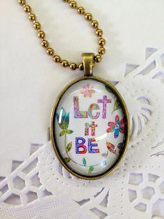 Let it Be Funky Glass Pendant by BethNadlerArt