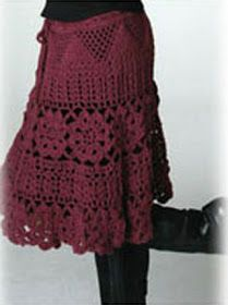 crochet dress patterns for women | ... Crochet: Falda en tinto | Free pattern skirts & dresses