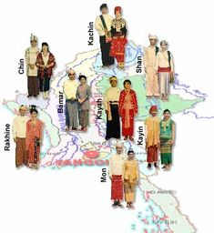 Myanmar former name Burma is a Union of 135 ethnic groups with their own languages and dialects. The major races are The Kachin, The Kayah(Karenni), The Kayin(Karen), The Chin, The Mon, The Bamar, The Rakhine, and The Shan.