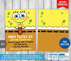 7 Awesome Spongebob Invitation Printables Images Spongebob