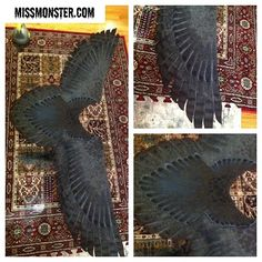 """""""Second version of wing shawl! I'm working on a few to release late next week, these will be a wool blend fabric. More pics + info soon #missmonster #wing…"""""""