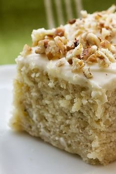 Banana Cake with Cream Cheese Frosting - Its denser and sweeter than banana bread,, and the frosting adds some sweet tangy-ness..