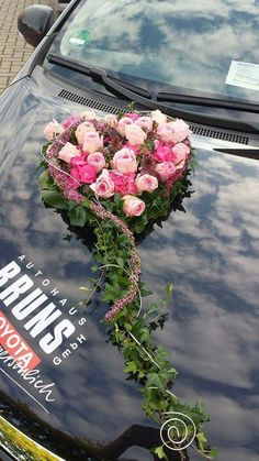 Hearts – # hearts - Home Page Floral Wedding, Wedding Flowers, Wedding Car Decorations, Wedding Cars, Bridal Car, Deco Floral, Wedding Trends, Floral Arrangements, Floral Wreath