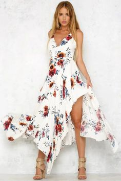 2017 red Floral print ruffles chiffon long dress Women strap v neck split beach summer dress Sexy backless maxi dresses vestidos. Sequin Midi Dress, Floral Maxi Dress, Chiffon Dress, Dress Up, Guess Dress, Beach Dresses, Casual Dresses, Dresses Dresses, Dress Beach