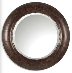 Leather Covered Wood & Metal Mirror  Click here to purchase: http://www.houzz.com/photos/17719153/Leather-Covered-Wood-and-Metal-Mirror-traditional-mirrors