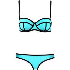 LUCLUC Sky Blue Bandeau Triangle Push Up Bikini Set found on Polyvore featuring swimwear, bikinis, bikini, swimsuits, swim, bathing suits, bikini swimsuit, push up bikini, bandeau swimsuit and push up bikini swimwear