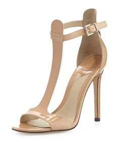 Leigha Patent T-Strap Sandal, Natural by B Brian Atwood at Neiman Marcus.