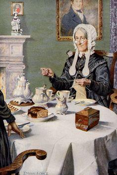 "illustration by Munro Scott Orr (Scottish for ""Jane Eyre"" by Charlotte Brontë, edition published 1921 Knitting Humor, Knit Art, Art Du Fil, Tea Art, Jane Eyre, Sewing Art, Vintage Images, Art Pictures, Illustrations Posters"