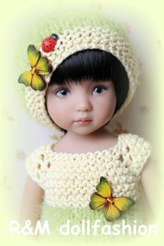 "R&M DOLLFASHION SPRING LINE OOAK handknit set for Effner Little Darling 13"" doll"
