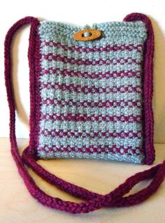 Free Knitting Pattern for Simple Linen Stitch Stripes Shoulder Bag - This tote is worked in linen stitch, creating a sturdy, woven-like fabric. Worked flat, the bag is constructed with i-cord edging that turns into the shoulder straps. Worsted weight yarn. Designed by Karyn Bonfiglio