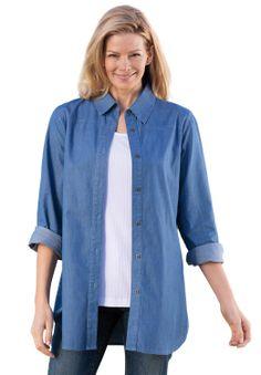 Denim tunic length big shirt | Plus Size All Tunics