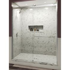 Basco Rotolo H x to W Semi-Frameless Bypass/Sliding Chrome Shower Door (Clear Glass) at Lowe's. With its semi-frameless design and sleek header, the Basco Rotolo sliding shower door adds modern touch to your shower enclosure. This door features a Shower Remodel, Bath Remodel, Douche Design, Frameless Sliding Shower Doors, Frameless Shower Enclosures, Decoration, Home Decor, Clear Glass, Chrome Finish