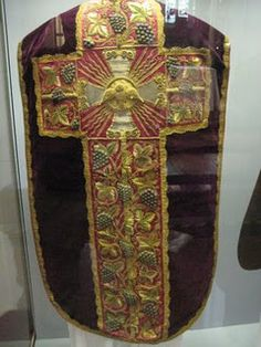 The Aragon Chasuble, 1534-1536. By tradition, this chasuble and other vestments in the High Mass set were made by Queen Katherine of Aragon when imprisoned in the years before her death.