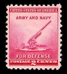 President Franklin D. Roosevelt drew a pencil sketch for the 2-cent National Defense commemorative stamp, which features an image of the 90-millimeter anti-aircraft gun recently introduced by the War Department.