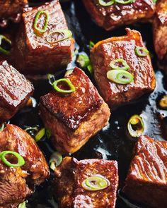 Honey-Balsamic Steak Bites Recipe | Kitchn Beef Recipes, Cooking Recipes, Beef Meals, Yummy Recipes, Healthy Recipes, Chicken Foil Packets, Steak Tips, Beef Steak, Paleo Dairy