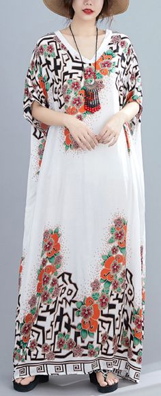 Style white print dress v neck Batwing Sleeve long Dresses Summer Dress Outfits, Casual Summer Dresses, Summer Dresses For Women, Long Dresses, Summer Clothes, Cotton Dresses, Kaftans, Abayas, Cocoon Dress