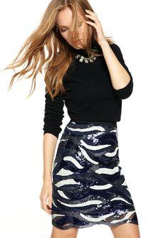 BCBGMAXAZRIA  Elodie Wave Sequin Skirt