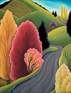 Fiery Shrub: Jane Aukshunas: Giclée Print - Artful Home Oregon Landscape, Abstract Landscape, Landscape Paintings, Oil Pastel Paintings, Pastel Art, Oil Pastels, Polychromos, Naive Art, American Artists