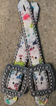 """Haywire"" Acid Wash Rainbow Spur Straps with Antique Silver by Running Roan Tack"