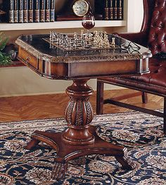 Off Heritage Game Table by Butler Specialty Company. stone veneer top and reversible chess/ backgammon game board components pieces not included drawer mesasure 1 x 1 required Game Room Tables, Table Games, Pool Tables, Game Room Furniture, Table Furniture, Antique Furniture, Furniture Showroom, Accent Furniture, Cheap Furniture