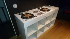 The project for my DJ Booth started with my turntables and mixer, since one turntable was black and the other silver.