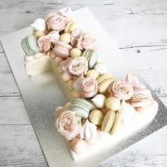"""Your very first birthday is always a little bit more special. Floral macaron chocolate number """"One"""" cake. Number Birthday Cakes, 10 Birthday Cake, Special Birthday Cakes, 1st Birthday Girls, Birthday Ideas, Number One Cake, Number Cakes, Cake Decorating For Beginners, Easy Cake Decorating"""