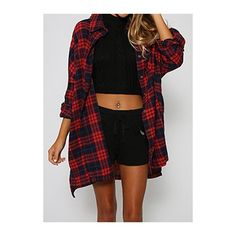 Turndown Collar Plaid Print Long Sleeve Shirt ($27) ❤ liked on Polyvore featuring tops, red, long sleeve collar shirt, extra long sleeve shirts, long collar shirt, red long sleeve top and long shirt