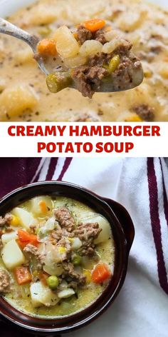 This Creamy Potato & Hamburger Soup is comfort food at it's most delicious! Hamburger, potatoes & vegetables all combine to make one great soup. Creamy Potato & Hamburger Soup bailee swift baiee foods/drinks ♡ This Creamy Potato & Hamburger Soup Hamburger Soup Crockpot, Hamburger Potato Soup, Recipes With Hamburger And Potatoes, Hamburger Vegetable Soup, Easy Soup Recipes, Cooking Recipes, Healthy Recipes, Canning Soup Recipes, Crockpot Recipes