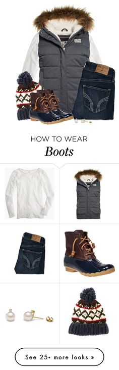 """Fur hooded vest, Nordic beanie & duck boots"" by steffiestaffie on Polyvore featuring J.Crew, Superdry, Hollister Co., Barbour and Sperry Top-Sider"